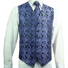 Purple Black XS-6XL Paisley Tuxedo Suit Dress Vest Waistcoat & Neck tie wedding
