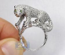 Gorgeous Silver Plated Emerald Gemstone Leopard Ring Bridal Wedding Jewelry 6-10
