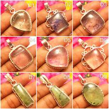 Lavish Pendants Snake Skin Quartz & Prehnite Gemstones Silver Overlay Jewelry