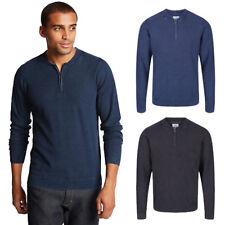 Marks & Spencer Mens Half Zip Baseball Neck M&S Long Sleeve Cotton Jumper Top
