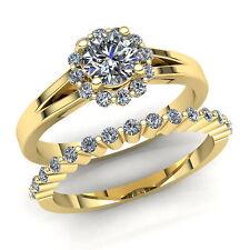 Natural 0.5ct Round Cut Diamond Ladies Bridal Halo Engagement Ring 14K Gold
