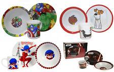 Comic Kids Breakfast Set 3 Ceramic Plate Bowl Mug Children Porcelain Dinner