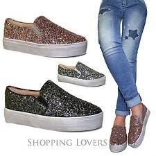 SCARPE Donna Sneakers Slip on Mocassini Glitter zeppa 3 00d341e97b8