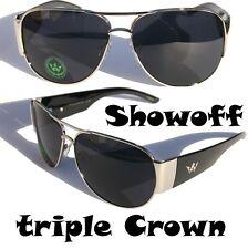 Men Triple Crown Show Off Aviator Sunglasses Black Silver fashion shades