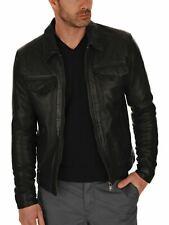 Men's Genuine Lambskin Leather Jacket Black Slim fit Biker Motorcycle jacket-33