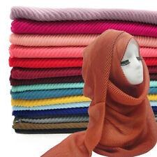 Women's Scarf Pleated Plain Color Scarves Wrinkle Muslim Hijab Shawl Muffler New