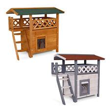 dibea, Maison pour Chats, Lodge en Bois, 77x50x73 cm, avec terrasse
