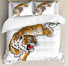 Tiger Duvet Cover Set with Pillow Shams Japanese Hand Drawn Print