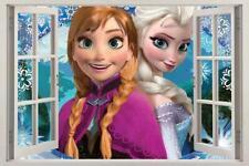 ANNA & ELSA Frozen 3D Window View Decal WALL STICKER Decor Art Disney Mural H49