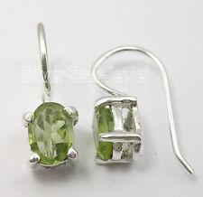 .925 Solid Silver CUT GREEN PERIDOT LITTLE New Earrings 1.7 CM ONLINE SHOPPING