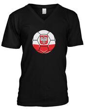Poland Soccer Ball Pride Polish Polska Bialo-czerwoni Mens V-neck T-shirt