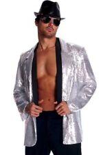 Men's Jazz Disco Silver Sequin Jacket Pimp Costume Accessory Hip Hop Dancer Star