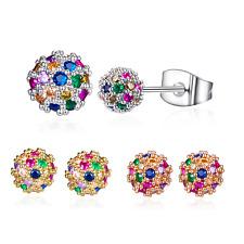 Buyless Fashion Multicolored Half Ball Stud Earrings Surgical Crystal Eardrops