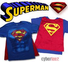 SUPERMAN Costume T-Shirt Mens With Cape DC Comics New Authentic S-2XL