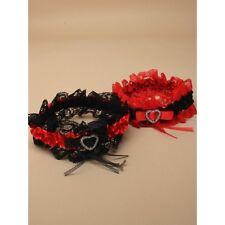 negro y Rojo Encaje Liguero Con Rojo y negro Cinta de Raso Boda Accesorio