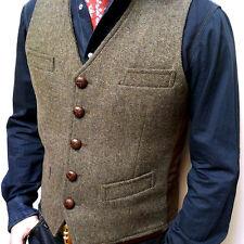 vintage Men's Formal Business Dress Vest V-neck court Waistcoat classic waist