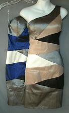 Wms  Daisy Navy/Gray/Blk or Mocha/Gray/Blk-One Shoulder Dress-Knee Length-S,M,L