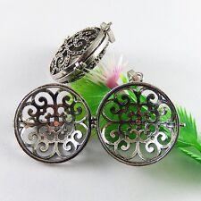 Antiqued Silver Brass Flower Pattern Hollow 28mm Round Locket Jewelry Crafts