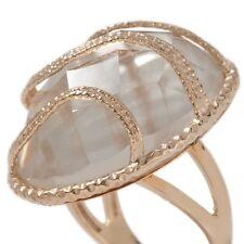 39 Carat Technibond Oval Clear Quartz Ring 14K Yellow Gold Clad Silver Gemstone