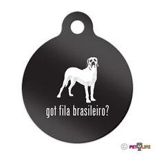 Got Fila Brasileiro Engraved Keychain Round Tag w/tab Many Colors