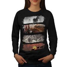 Wellcoda Beast Wild Horses Womens Sweatshirt, Wildlife Casual Pullover Jumper