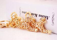 Gold Red Leopard Animals Shaped Diamante Rhinestone Bag Charms Handbag Keyrings