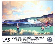 Vintage LMS golf en Irlanda del Norte comenzó Ferrocarril cartel A3/A2/A1 impresión