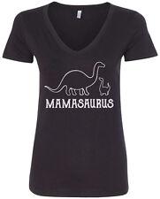Mamasaurus Women's V-Neck T-Shirt Mom Mommy Dinosaur Rex Mothers Day
