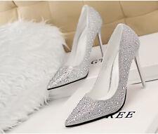 Décollete Scarpe decolte  donna tacco spillo 10,5 cm stiletto moda argento 8616
