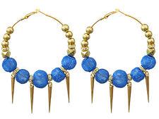 Trendy Big Hoops Gold Spikes and Royal Blue Mesh Balls Rhinestone Earrings E276