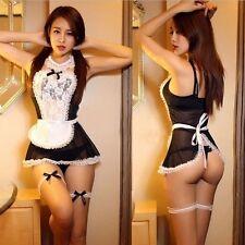 Sexy Women French Maid Lingerie Valentine Costume Cosplay Nightwear G-string b