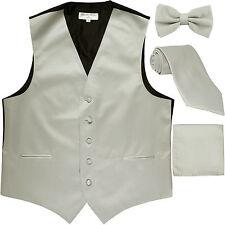 New Men's solid Tuxedo Vest Waistcoat & necktie & Bow tie & Hankie silver gray
