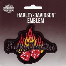 HARLEY DAVIDSON Parche Parche Modelo Dados En Llama tamaño aprox. 10cm A 7,6 cm