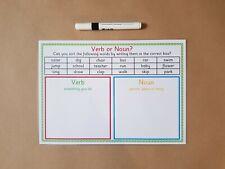 Verb or Noun?, Literacy, reusable worksheet, phonics, KS1, teaching resource