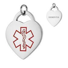 DEMENTIA  Stainless Steel Medical Alert Heart Pendant/Charm,Free Bead Ball Chain