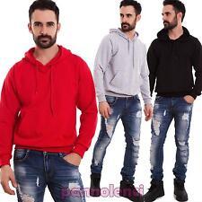 Felpa uomo maglia maniche lunghe cappuccio cotone casual basic nuova SN-1099