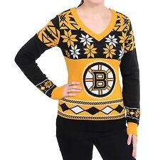 "Boston Bruins Women's Ugly V-Neck Sweater ""Big Logo"" FREE SHIP Pick Size"