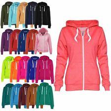 Womens Ladies Side Pockets Hoodies Sweatshirt Jacket Plain Fleece Hoody Zip Top