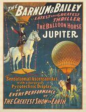 Vintage Barnum et Bailey Jupiter le ballon cheval Circus Poster A3 imprimer