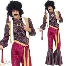Mens 70s Psychedelic Rocker Costume Hippie Jimmy Hendrix Rock & Roll Fancy Dress
