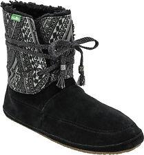 Women's Sanuk Soulshine Chill SWF10434 BLK Balck Suede Booties slippers boots