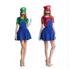 Ladies Super Mario Luigi Costume Adult Plumber Bro Fancy Dress Women 80s Outfit