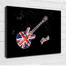 Union Jack Guitarra Música Rock Personalizado, Imagen Lienzo Arte para niños