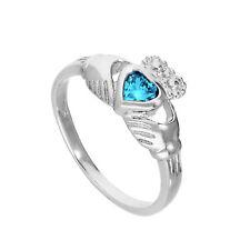 Sterling Silver & Aquamarine CZ Crystal March Birthstone Claddagh Ring I - U
