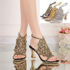 Rhinestone Jewelry Wedding Bride High Heel Platform Evening Dress Sandal Shoes