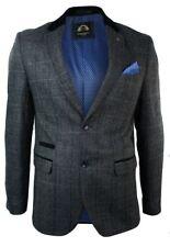 Mens Check Vintage Herringbone Tweed Grey Charcoal Blazer Jacket Fitted