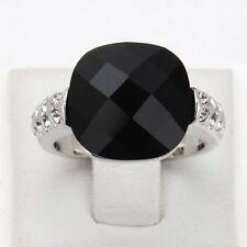 18K White Gold Plated Made W/Swarovski Crystal Black Acrylic Vintage Cat Ring