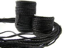 Lederschnur (ab 1,6€/m) Geflochten 3 mm. Schwarz. Lederband. Länge: wählbar