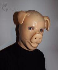 LATEX FLESH GUM FETISH PIG FULL HEAD RUBBER HOOD BOAR DOLL MAN MEN COSPLAY MASK