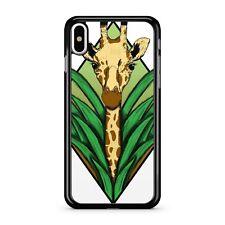 Animal jirafa marrón manchado quisquilloso hojas de color verde 2D Teléfono Estuche Cubierta